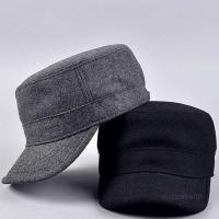 Quality Curved Visor Adult Wool Cotton Quality Mens Military Army Winter Warm Metal Strap Flat Top Hat Cap for sale