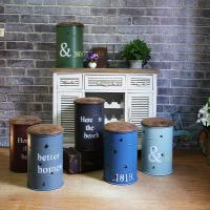 China Bar Chair Vintage Oil Drum Stool Rural Storage Stool Decorative Tin Bucket Bar Stool on sale