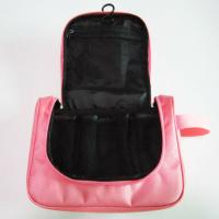 Quality Cute Nylon Hanging Travel Makeup Bag Pink Color For Women Wash for sale
