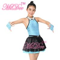 China 3 Colours Fancy Girls Jazz Dance Dress with Rhinestones Chocker Collar Dance Competition Costumes on sale