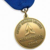 Quality Metropolitan Medals with Antique Gold Medal and Blue Ribbon for sale