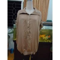 Quality 100% Viscose Womens Fashion Tops Bow Back Waist Button Up Shirts  Tops Elastic Cuff for sale