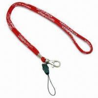 Quality Rope Woven Lanyards with 6mm Diameter and Plastic Detachable Mobile Phone Buckle, Made of Polyester for sale