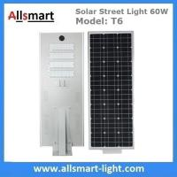 Quality 60W Integrated Solar Street Lights All in One Solar LED Street Light Radar Sensor Solar Lights with / without Pole for sale