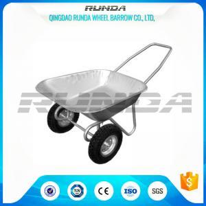 China Tubular Steel Axle Heavy Duty Wheelbarrow , Dual Wheel Wheelbarrow80kg Load on sale