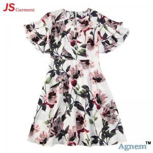 89D17384 Fashion Round Neck Lotus Leaf Sleeve High Waist Floral Print Linen Dress Women