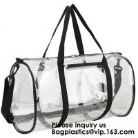 Clear Duffel Gym Bag Transparent PVC Carry Bag With Shoulder Strap,Cosmetic Carry Bag Magnet Pockets Detachable Shoulder