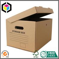 Quality Cutout Handle Corrugated Storage Box; Black Color Archive Carton Packaging Box for sale