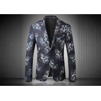 Quality Two Buttons Mens Floral Printed Suit Jackets Polyester Sublimation Back Vent for sale