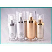 Quality 70 ML 130 ML Oval Shape Cosmetic Serum Bottle ,Silver / Gold Airless Cosmetic Bottles for sale