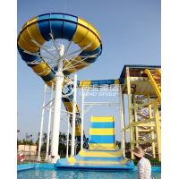 Quality Giant Aqua Park Equipment Exciting Swimming Pool Fiberglass Waterslides For Adults for sale