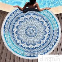 Quality Multi - Purpose Custom Printed Beach Towels , Round Beach Blanket With Tassels for sale