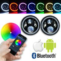 Quality 7 Inch Round RGB LED Headlights Bluetooth Phone APP Control High Low Beam for sale