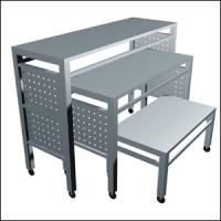 Quality Iron Frame Wooden Store Display Table , Freestanding  Metal Shop Display Tables for sale