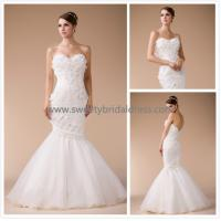 Quality Mermaid & Trumpet Sweetheart Beading Lace and Organza Bridal Dress HM880003 for sale