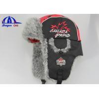 Quality 100% Polyester / Fake Fur Winter Cap and Hat With Flat Embroidery And Plastic Buckle On Earflag for sale