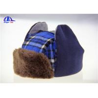 Quality Checked Cotton / Fake Fur Baseball Warm Winter Caps With Earflag Blue and Brown for sale