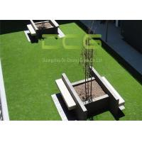 Quality Anti - Slip Artificial Turf Grass / Fake Turf Grass Olive Shape Green Color for sale