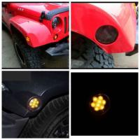 Quality IP 68 Jeep Wrangler Headlights , 2x Smoked LED Front Fender Flare Turn Signal Side Marker Light for sale