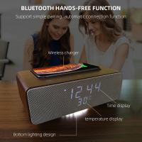 Quality Wireless Charging Bluetooth Stereo Speakers Alarm Clock Room Temperature Display for sale