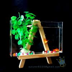 Buy Fake glass acrylic custom fish aquarium with wood base at wholesale prices