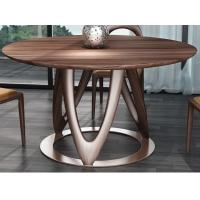 Quality Nordic style Living room Furniture Walnut Wooden Circular Dining table in Special design Legs and Stainless steel plate for sale