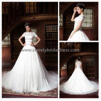 Quality Aline High Neck Short Sleeves Zipper Tulle Wedding Dress ZX004 for sale