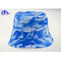 Quality Sublimation Blue Ladies Printed Bucket Hats / Bucket Caps with 100% Polyester for sale