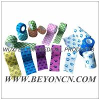 Quality Pattern Imprinted Cohesive Flexible Sports Tape / Colored Athletic Tape for knee for sale