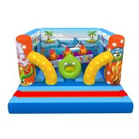 Quality Ocean Themed Kids Inflatable Bounce House Sea World Painting With Interesting Obstacles Inside for sale