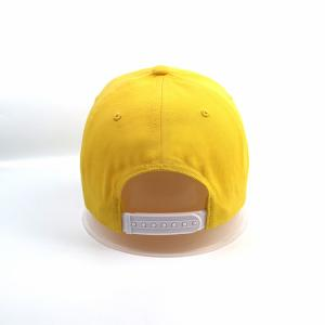 Quality Factory manufacture customized Lemon yellow 5panel logo plastic buckle baseball caps hats for sale