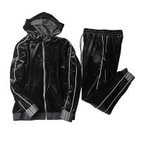 Quality Windproof Mens Black Velour Tracksuit , Mens Sweat Suits Sets Soft Feeling for sale