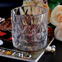 Quality Clear contemporary glass candle holders diamond pattern design Bottom dia 98mm for sale