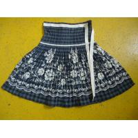 Quality 100% Cotton Little Girl Floral Dress , Ribbons Waist Girls Pleated Skirt For Age 7 for sale