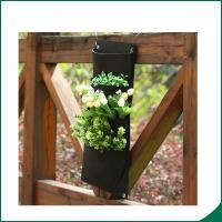 Quality 4 Pockets Black Color Recycled Vertical Wall Garden Planter / Balcony Plant Grow Bag for sale