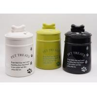 China Ceramic Personalized Dog Treat Jar , Pet Food Canister With Decal Silicone Sealed on sale