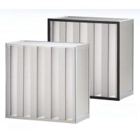 Quality V - form H13, H14 Aluminum high capacity pleated hepa filter for industrial ventilation systems for sale