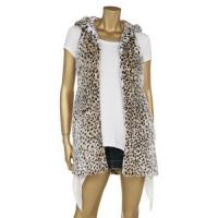 Quality Leopard Printing Fashionable Winter Coats Faux Fur Full Lining Sleeveless Hooded Jacket for sale