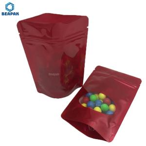 China 200pcs Plastic Glossy Red Stock Packaging Bags With Clear Window on sale