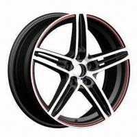 Quality Alloy Car Wheel/Car rim in Aftermarket Design, with Matte Black Plus Red Side for sale