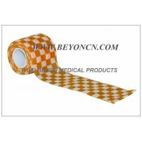 Quality Self Adhesive Elastic Bandage / Self Adherent Wrap with Orange Check Printing for sale