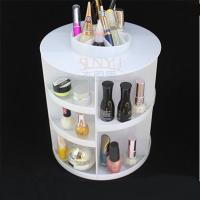 Quality White Acrylic Cosmetic Counter Display Stands PMMA Cylindrical More Compartments for sale