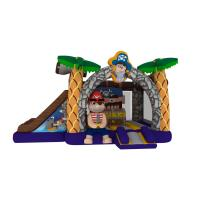 Quality Inflatable pirate topic combo inflatable pirate treasure themed combo house with double slide for kids for sale