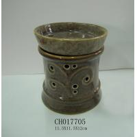 Quality Fambe Glazing Ceramic Oil Burner , Handmade Incense Burner Ceramic With Top Cover for sale