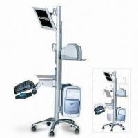 Quality Mobile Computer Workstation with Monitor Stand, LCD Monitor, Printer and CPU Mounts on Stand Caster for sale