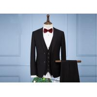 Quality OEM England Men Full Black Tuxedo Suit Anti - Wrinkle Three Pieces 65% Polyester for sale