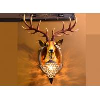 Quality Resin Glass Led Wall Strip Lights Lucky Deer Head Lamp Hand - Painted Durable for sale