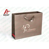 Buy Brown Custom Paper Shopping Bags With Bottom Cardboard Satin Ribbon at wholesale prices