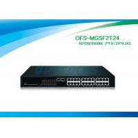 China 12G Fiber Optic Managed Switch 2 SFP 1000 BASE - Fx 24 10 / 100 / 1000 BASE - Tx Fiber Switch No SFP on sale