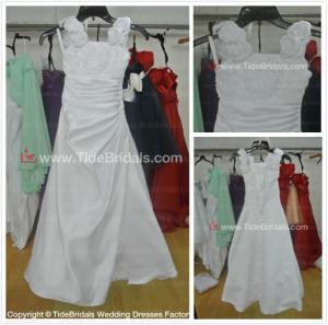 Quality Satin Hand made flowers flower girl dress#LT2286-flower girl for sale